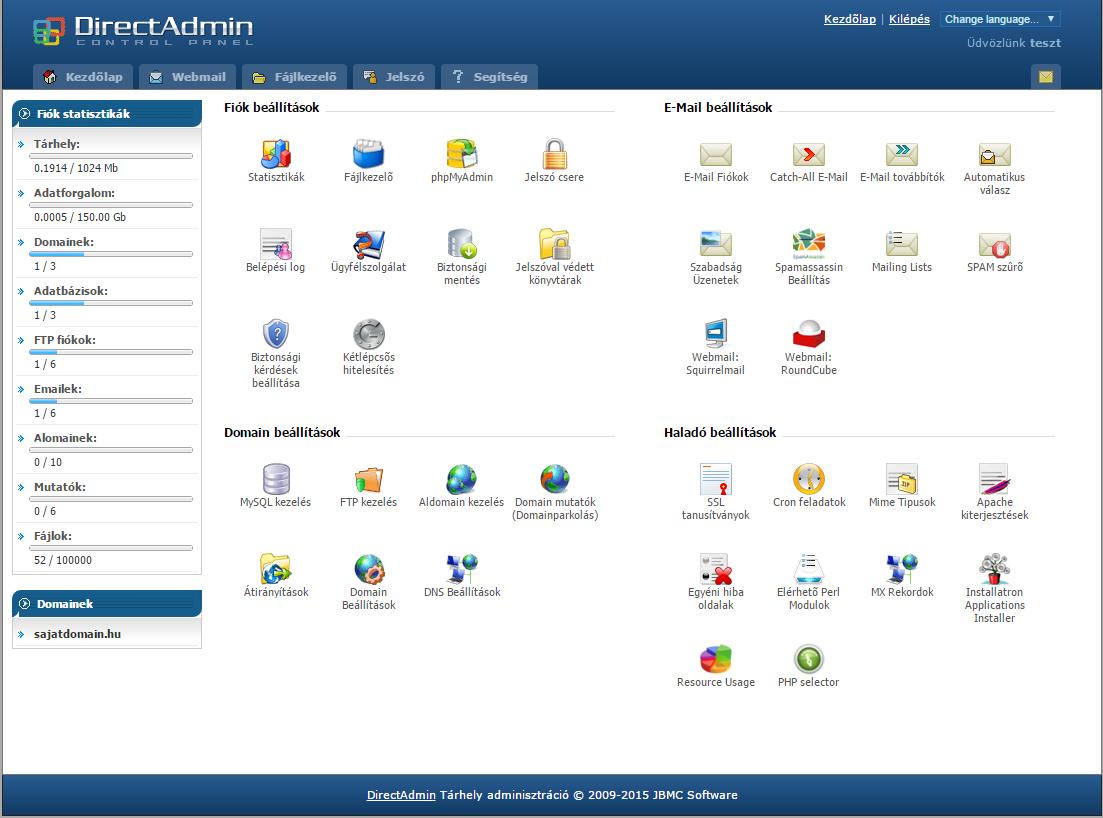 Directadmin főoldal egy domain kezelése esetén