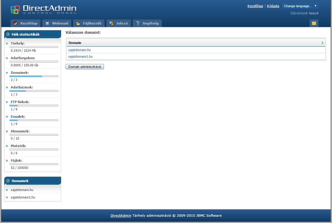 Directadmin főoldal több domain kezelése esetén
